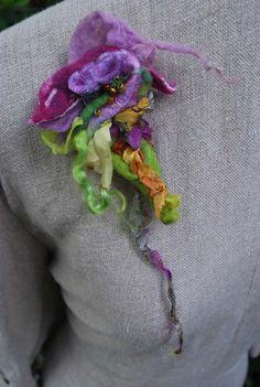 fiber art felt brooch exotic flower