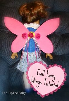 How to Make Doll Fairy Wings from The TipToe Fairy girl doll, girl cloth, craft, fairies, fairi wing, tipto fairi, doll fairi, american girl