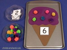 Ice Cream Cone Pom Pom Counting  - Pinned by @PediaStaff – Please Visit ht.ly/63sNtfor all our pediatric therapy pins