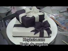Cómo hacer una tarta de fondant de cajas de regalos. gift cake