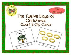 These cards are terrific for Math Centers – A Hands-On Activity your kiddos will love!  Twelve Days of Christmas Clip Cards allow learners to practice counting. There are 12 clip cards. On each card is a set of pictures to count and a choice of three numerals. Learners count the pictures in the set and clip a clothespin to the numeral that corresponds with the number of pictures in the set.
