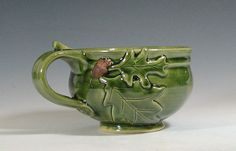 Soup mug ceramic, oak acorn, cappuccino chili bowl, glazed in green, handmade stoneware by hughes pottery