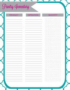 Getting Organized! Pantry Inventory Freebie
