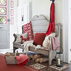 Country hallway with bench and red accessories | Hallway decorating | Country Homes & Interiors | Housetohome.co.uk
