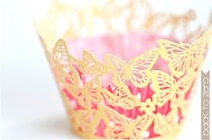 Laser Cut Lace Cupcake Wrappers - Butterflies x 20