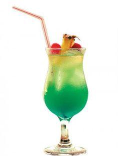 Blue Swing (1 1/2 oz. Malibu rum  1 1/2 oz. blue Curacao liqueur  3 oz. pineapple juice  Dash lemon juice  Lime wedge)