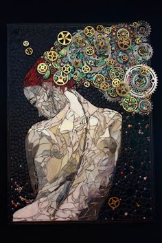 Mosaics Made of Gears, Watches, and Keys by Laura Harris