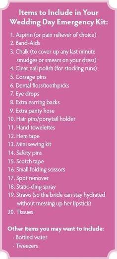 Wedding Day Emergency Kit list