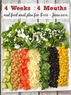 Frugal Real Food Meal Plan:  June 2014 | Feeding 4 mouths for 4 weeks on just $330.  :: DontWastetheCrumbs.com