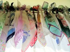 Love this beautiful valance made with vintage handkerchiefs.