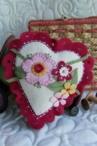 love this look - heart die cut felt pincushion w flowers
