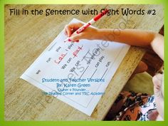Fill in the Sentence ith Sight Words #2 from The Reading Corner on TeachersNotebook.com -  (12 pages)  - This package includes 10 sentences Activity Sheets.  Each Activity Sheet include 6 simple sentences with 6 sight words for the student to cut and glue or write in the correct space on the sentence.