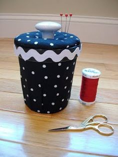 How to make a pincushion & sewing container from a Ben & Jerry's tub :-)  (The best part is you have to empty it first yeah)