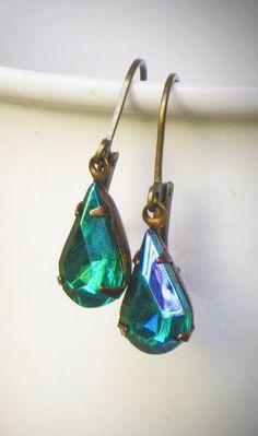 Pear Rhinestone Earrings, Simple, Emerald, Green, Everyday