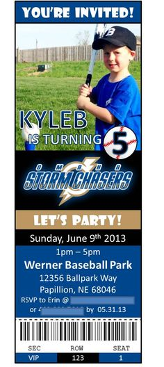 Baseball Game Birthday Party Invitation - I made this invite for my son's 5th Birthday Party at our local semi-pro baseball team (The Omaha Stormchasers).  The party was great - he got to throw out the first pitch before the game, and all of the kids got to play in the Kids Zone during the game.  I also made them custom T-shirts with their names on the front and the team logo on the back so I could easily keep track of 10 little boys!