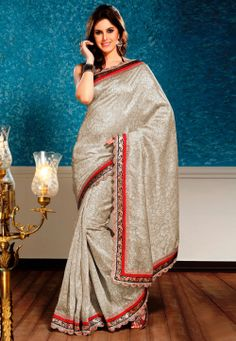 Off White Art Silk Saree with Blouse @ $52.08