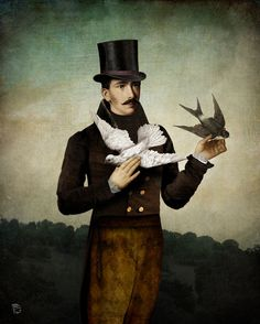 Man With Birds by Christian Schlo. #painting #art