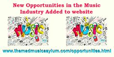 New opportunities in the music business added to the site. Check it out. http://www.themadmusicasylum.com/opportunities.html
