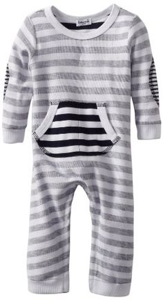 Splendid Littles Baby-Boys Newborn Navy Stripe Active Romper, White, 3-6 Months - Bring comfort to another level with this soft Navy stripe Reverse Loops Active romper. Product Features  Front Kagaroo pocket Long sleeve romper