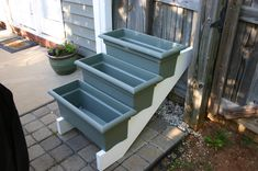 This is brilliant! Purchase stair risers from home improvement store. Start a mini garden this way! stairs, herb garden, stair risers, herbs garden, back porches, mini gardens, planter boxes, home improvements, window boxes