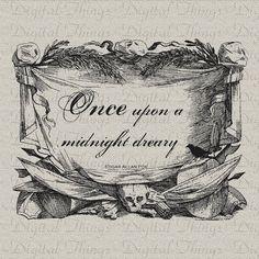 Halloween Edgar Allan Poe The Raven Bird Poem Digital Download for Iron on Transfer Fabric Pillows Tea Towels DT1147