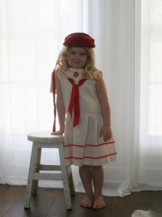 Girls Nautical Dress Girls Sailor Dress Vintage Inspired Red and White Cotton Dress Girls Size 5-6 on Etsy, $63.00