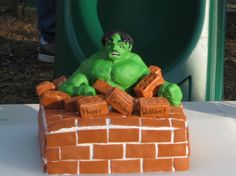 Make the cake rounded and with an action figure on top instead. Incredible Hulk Birthday Cake incredible hulk birthday, birthday cakes