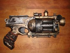 This is another nerf maverick, turned steampunk. This designer did a great paint job, and the additions of all of the small components really brings out the culture in the weapon. The small pipes and tubes are amazing.