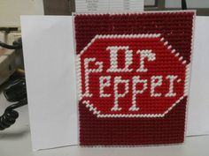 dr. pepper plastic canvas for a tissue box pattern that I made/ could not find one anywhere so I made one /just the middle part can be made as coasters