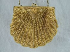 Beaded Evening Clutch Bag - Shell Shaped with Strap _  US $27.95