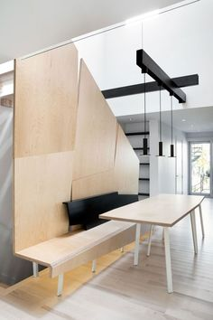 Modern Interior Designs for Creating Comfortable Sensation: White Interior Design Idea Combined With Wooden Furntiure And Black Color Of LIg...