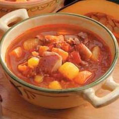 Harvest Soup. Very favorite fall soup. I omit the squash and more sweet potatoes. Worth buying the organic canned tomatoes!! Tastes even better.