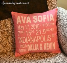 Birth announcement pillow.