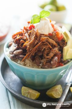 Gluten Free Crock Pot Recipe - Chili Spiced Pulled Pork Burrito Bowls