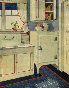 1929 Kitchen by American Vintage Home, via Flickr- looks like my current lay-out- very interesting