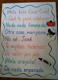 I Teach Dual Language: De nada, empanada: Spanish Rhyming Phrases