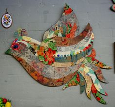 An artistic eye can create a bird of paradise out of vintage reclaimed linoleum.
