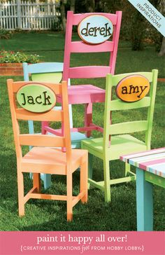Adorable: make name labels for the back of school chairs  at my centers