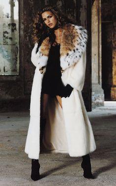 white mink & lynx fur coat