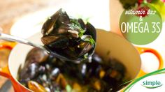 Sub greasy summer foods for fresh Mussels with garlic  white wine. They're packed with omega 3s that love your skin!