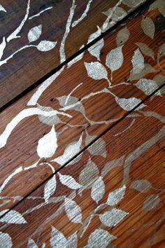floor stencil ( white/grey/silver on wood )