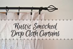 Rustic Smocked Drop Cloth Curtains - Country Design Style