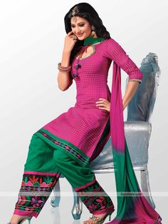 Get simple yet trendy look wearing this beautiful magenta salwar kameez. Dotted kameez with 3/4th sleeves gives it designer look. It will look good for semi-formal parties. http://goodbells.com/salwar-suits/beautiful-magenta-shade-salwar-kameez.html