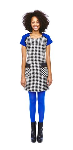 so mod — ice colorblock houndstooth dress