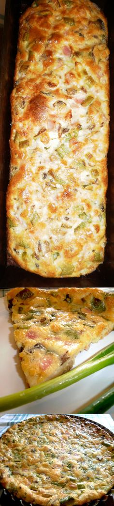 Tart with mushrooms, bacon and green onions