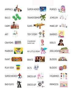 Printable labels for toy organization.  Should have done this long ago to help the kids put stuff away properly!