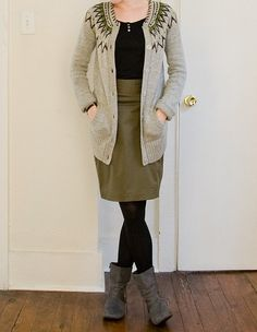 love the layers and the olive skirt. Could work for winter too.
