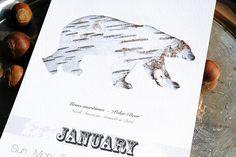Calendar Animal Silhouettes