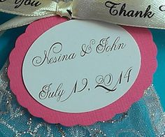 $12.50 25 Personalized Custom Oval Favor Tags With Scalloped Back-Choose Your Color-Wedding, Baby and Bridal Shower, Birthday, Any Event or Party  www.etsy.com/listing/174277220/25-personalized-custom-oval-favor-tags favor tag, bridal showers