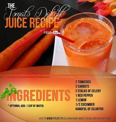 The Tomato Delight Recipe! #tomatoes #carrots #celery #pepper #lemon #cucumber #cilantro